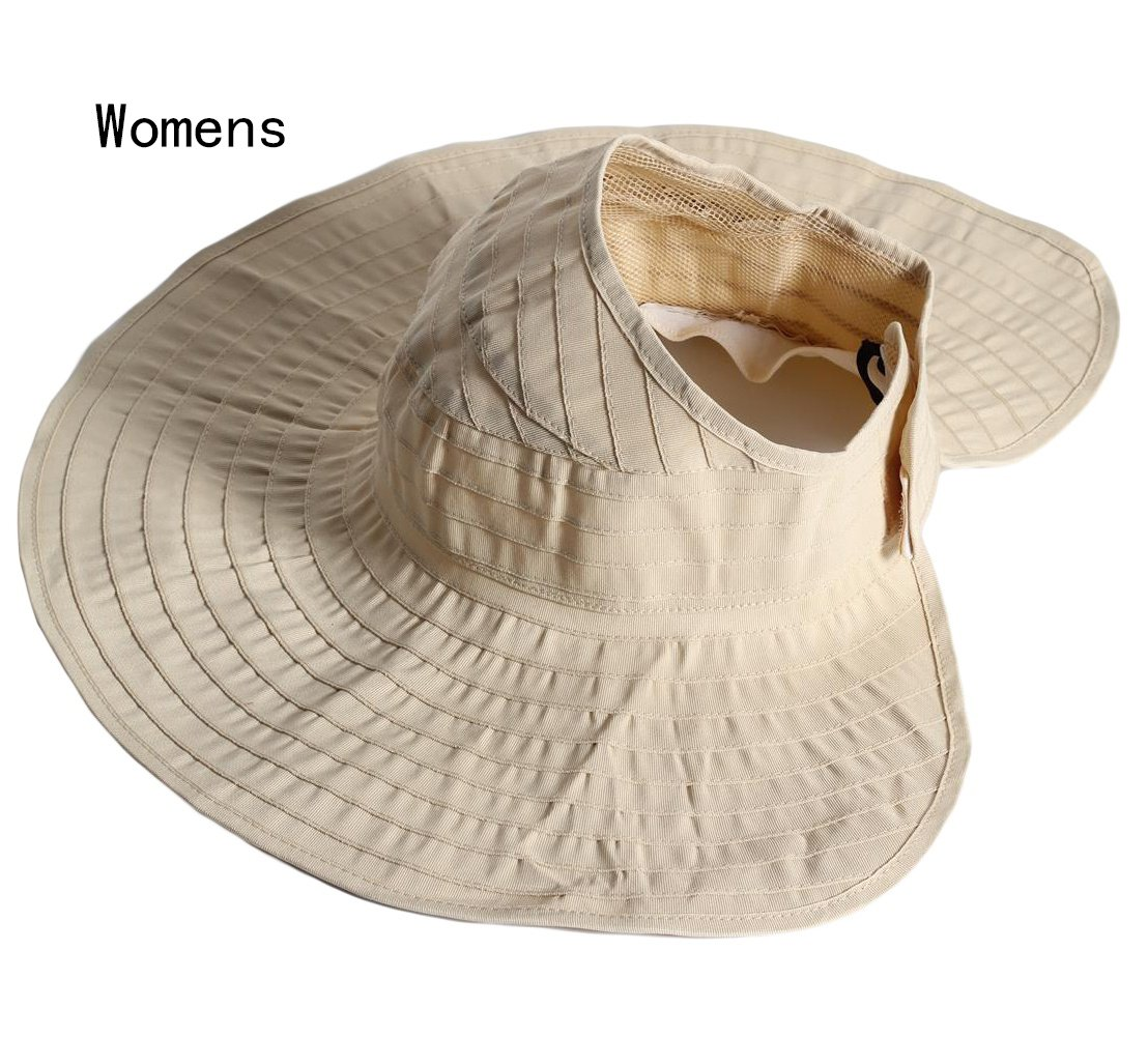 Womens Sun Hat SunJolly Portable Summer Wide Brim UV Protection Floppy Foldable Roll Up Beach Hat and 2PCS Parent-Child Hat for Travel (2PCS Parent-Child, Beige)