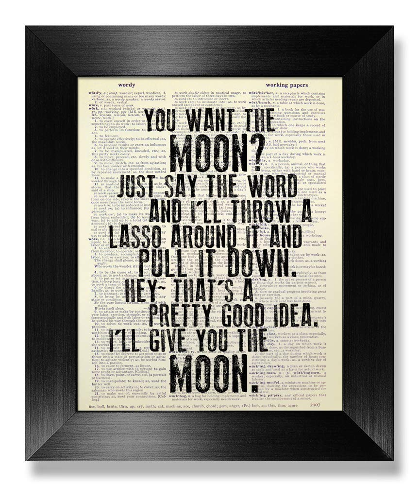 It's a Wonderful Life Movie Poster -You want the moon, Just say the word and I'll throw a lasso around it and pull it down - Original Artwork, Dictionary Art Print, Christmas Decor, Housewarming Gift