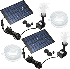 Solar Fountain Pump Solar Powered Panel Water Pump Garden Floating Pump with Nozzles and 3.2 ft Silicone Clear Tubing for Pond, Fountain, Bird Bath, Garden Decoration, Water Cycling (2 Sets)