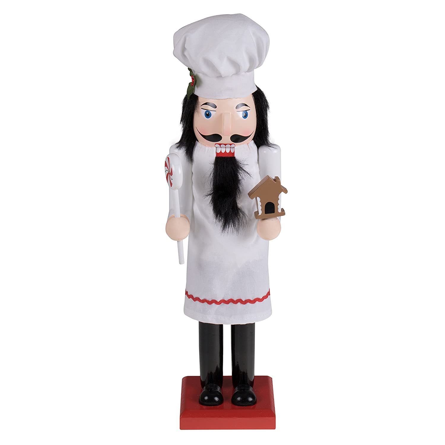 "Baker Chef Nutcracker by Clever Creations | Baker Wearing White Apron with Red Trim and White Chefs Hat | Collectable Festive Christmas Decor | 100% Wood Perfect for Shelves and Tables | 15"" Tall"