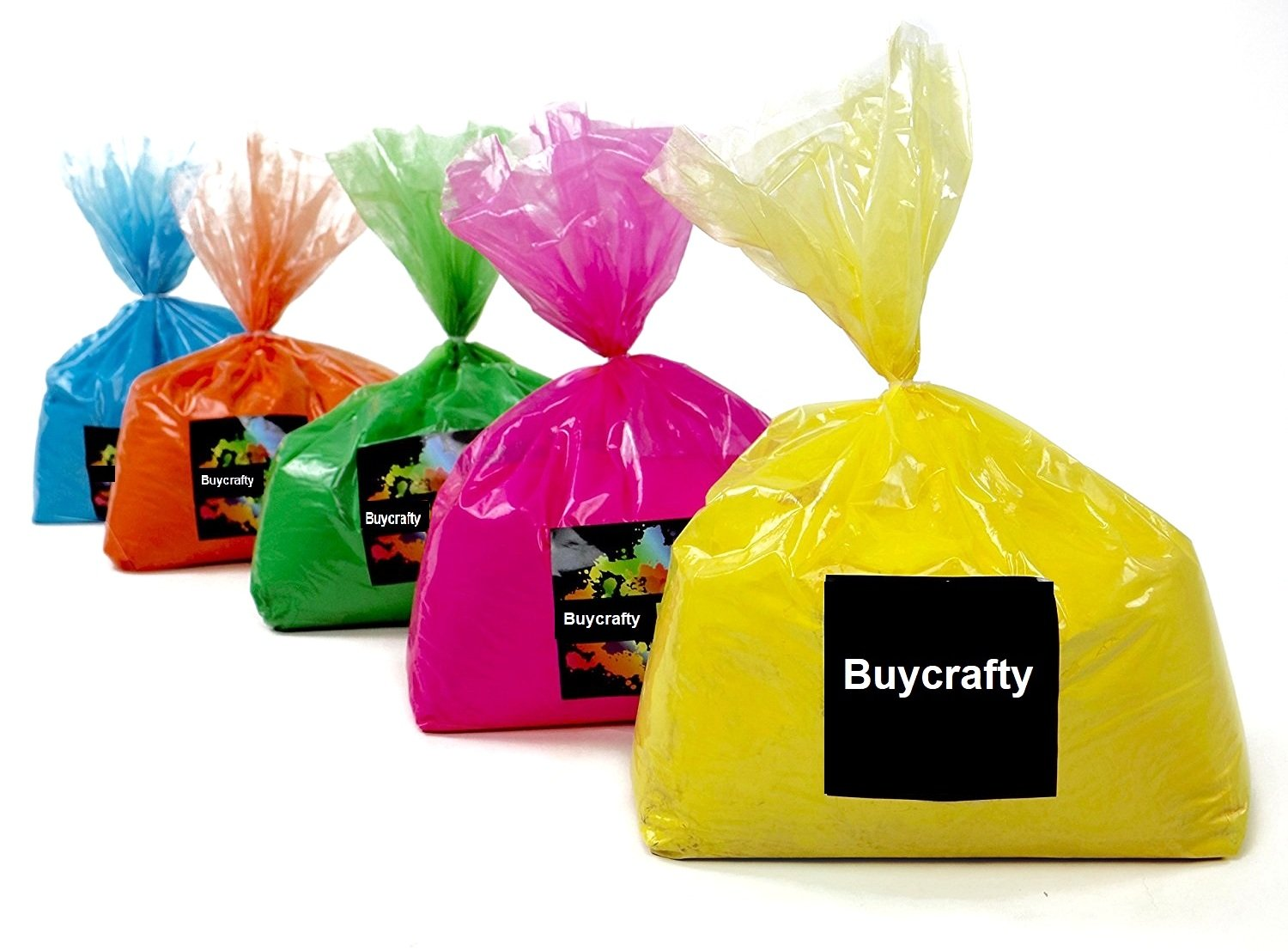 Buycrafty Multi Mix Pack 25 Pounds - 5 pounds of 5 colors - Ideal for color run events, youth group color wars, Holi events and more, Festival Colors (Rangoli)