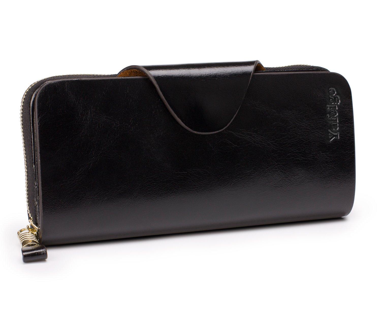 Yafeige Large Luxury Women's RFID Blocking Tri-fold Leather Wallet Zipper Ladies Clutch Purse(1-Waxed Black) by Yafeige (Image #6)