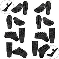 ALPIDEX economy package with 16 pieces / 8 pair Nordic walking pads in 2 different forms rubber tips for asphalt/rock and soft ground