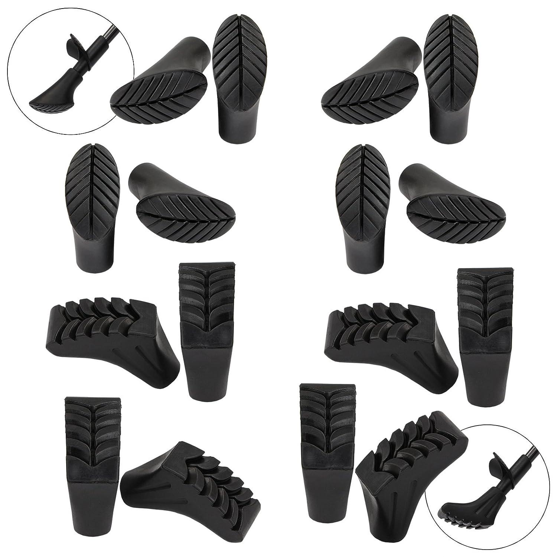 Taco de Goma para Asfalto y Piedra ALPIDEX Kit Ahorro de 16 Unidades 8 Pares de conteras para bast/ón de Marcha n/órdica en 2 Formas Diferentes