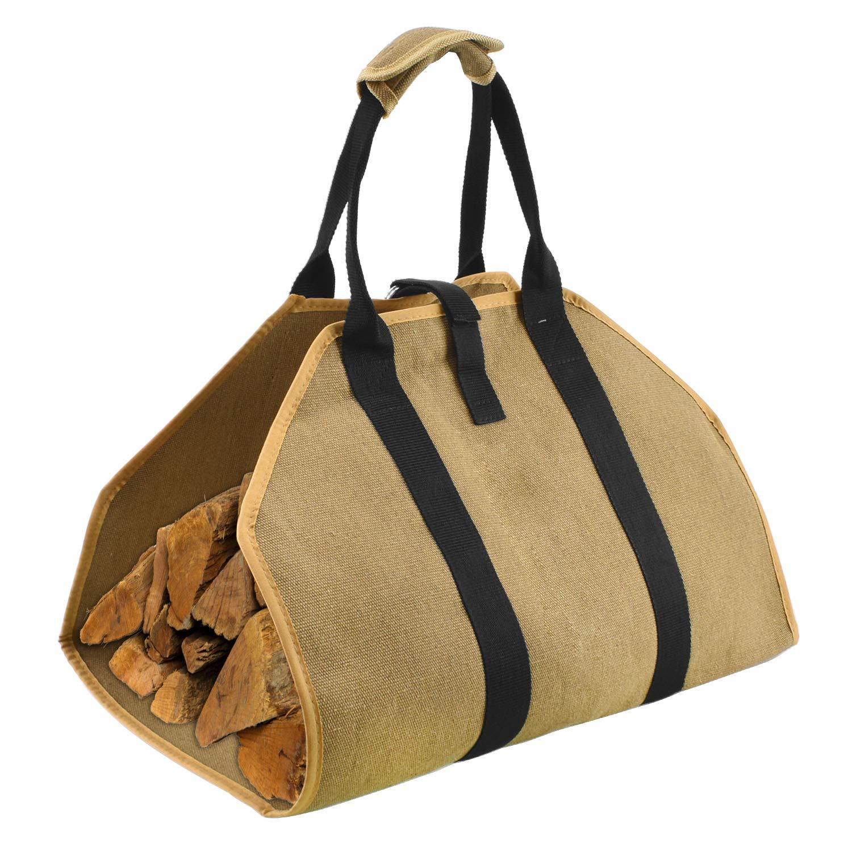 Geboor Firewood Carrier Log Tote Bag Canvas Fire Wood Holder Fireplace Wood Stove Accessories Padded Handle Storage Bag by Geboor