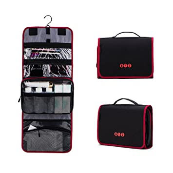 Amazon.com   BAGSMART Hanging Travel Toiletry Bag Carry-on Makeup Organizer  Folding Cosmetic Bag for Women and Men 434ef2525f331