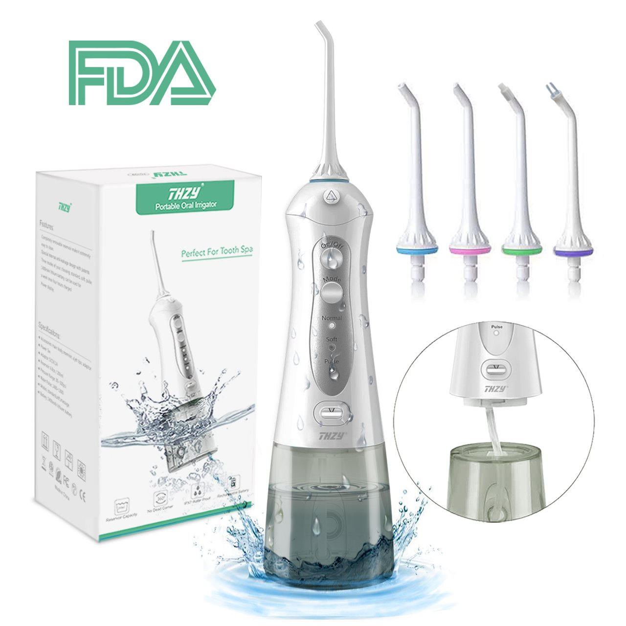 Cordless Water Flosser Oral Irrigator Upgraded IPX7 Waterproof 3-Mode USB Rechargable Professinal Portable Water Pick Dental Flosser with 4 Tips for Braces and Teeth Whitening