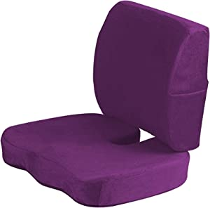 BESTHLS Purple Seat Cushion for Office Chair Coccyx Cushion for Tailbone Pain Pressure Relief Orthopedic Memory Foam with Lumbar Support Pillow Lower Back Support Ideal for Car Seat Wheelchair