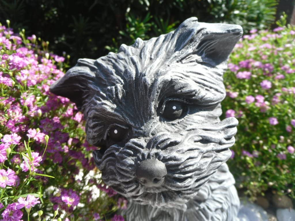 Gartenfigur Steinguss Tierfigur Basaltgrau Steinfigur Hund 125//1