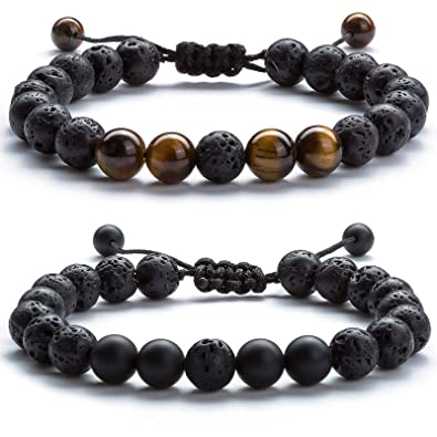 Hamoery Men Women 8mm Lava Rock Aromatherapy Anxiety Essential Oil Diffuser  Bracelet Adjustable Natural Stone Yoga 60822f1349288
