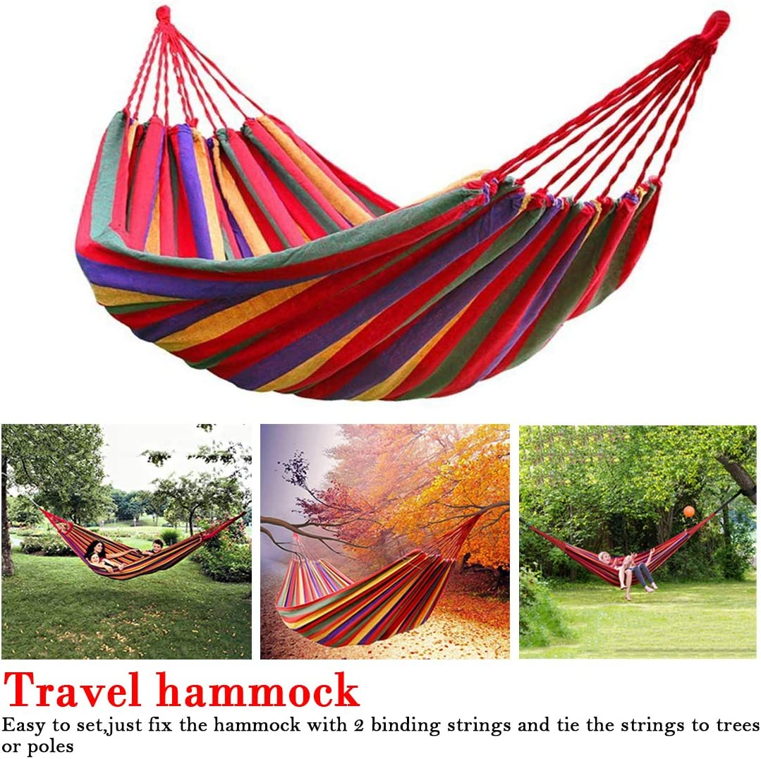 150cm Pellisilot Camping hammock 2 people blue red canvas universal outdoor curved wooden stick stable hammock portable garden swing chair 280