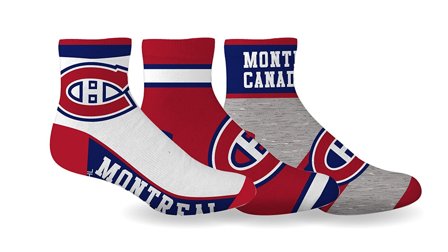 NHL Boy's Montreal Canadiens Licensed 3-Pack Ankle Socks (Shoe Size 3-6) SPORTICUS