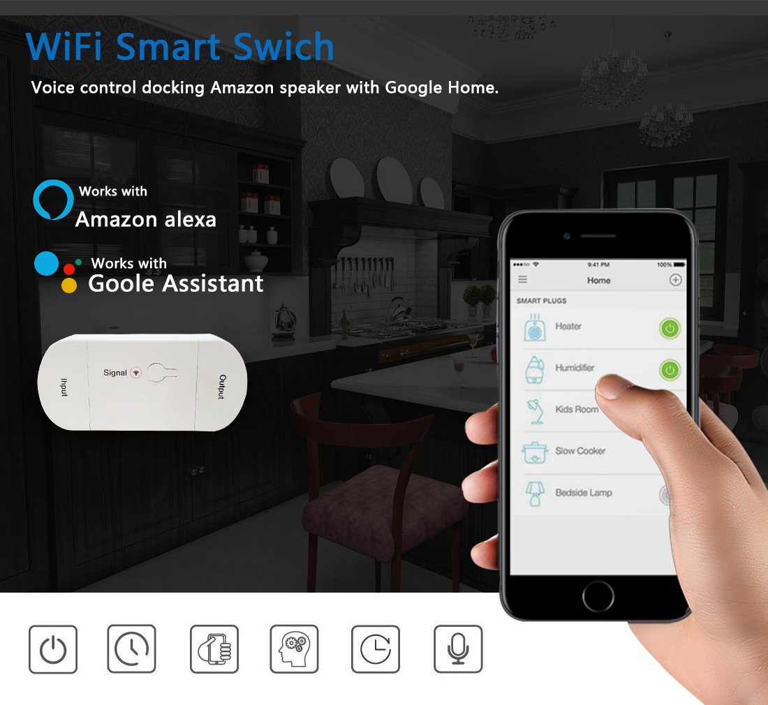 Mini Wireless Remote Control WiFi Smart Switch Electrical Works with Amazon Alexa Echo and Google Assistant (2) (Second generation) by Carrep
