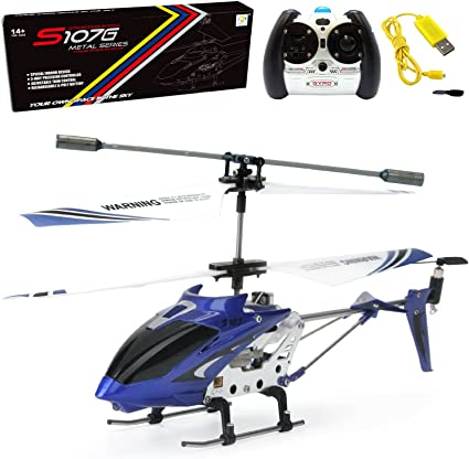 Cheerwing S107 S107G 3.5CH Alloy Mini Remote Control RC Helicopter Gyro Blue