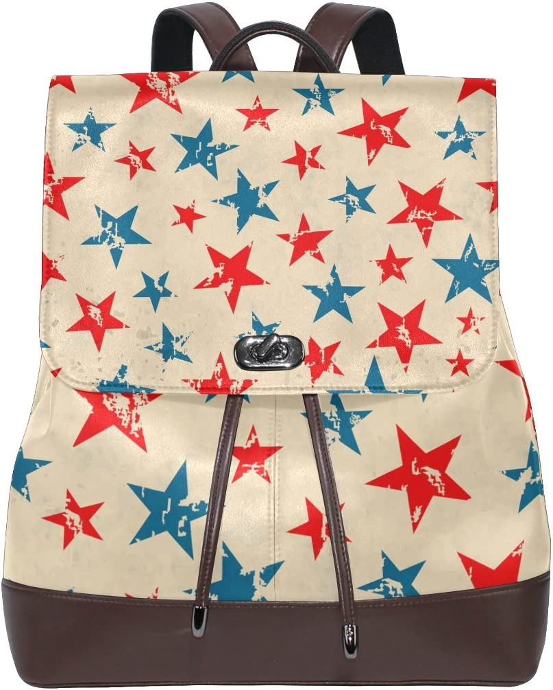 KUWT American Independence Day Vintage Star PU Leather Backpack Travel Shoulder Bag School College Book Bag Casual Daypacks Diaper Bag for Women and Girl