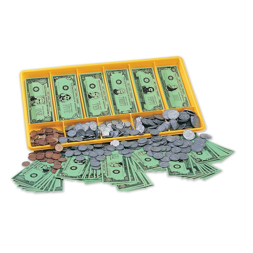 Set of 450 Coins and 500 Bills and Cash Register Paper Bills hand2mind Play Money Plastic Coins