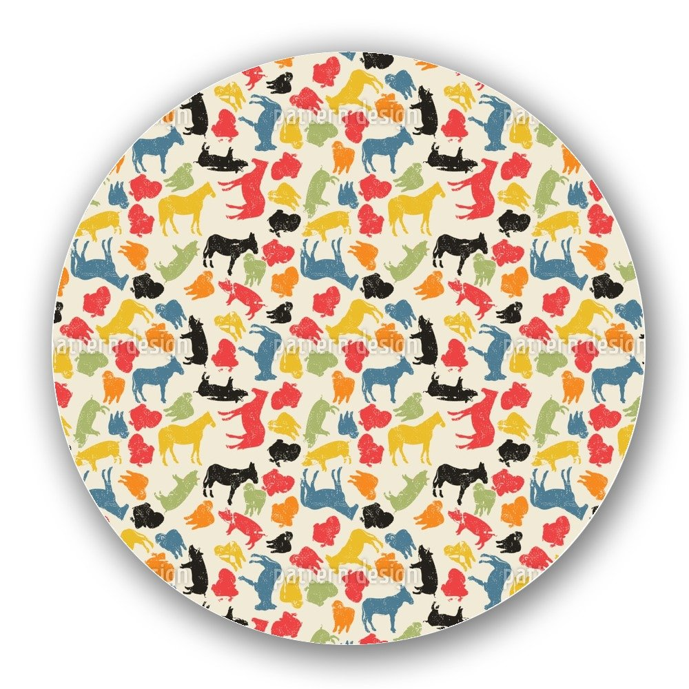 Uneekee Animals On Our Farm Lazy Susan: Large, pure birch wooden Turntable Kitchen Storage