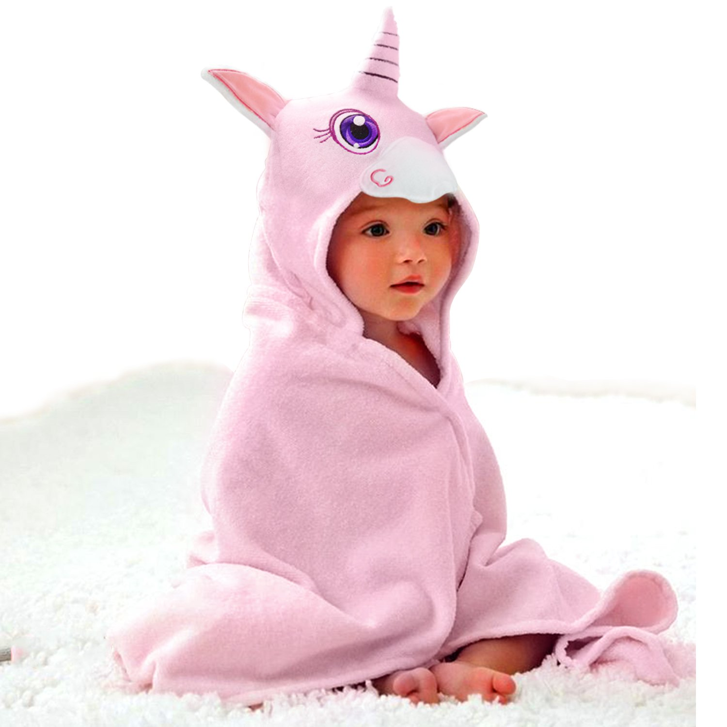 Baby Hooded Towel Upsimples Unicorn Baby Towels for Baby Girls 35 × 35 Inches Ultra Large 500GSM Super Soft Organic Bamboo Baby Towels for Baby Infant Toddler | Baby Girl Shower Gift Photo Shoot Props CH-UP01013