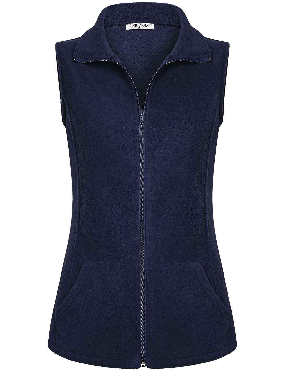 SeSe Code Lightweight Vests Womens Ladies Fashion Slimming Work Spring Sport Business Casual Wear Boutique Loose Fitted Polar Fleece Vest Navy Blue L