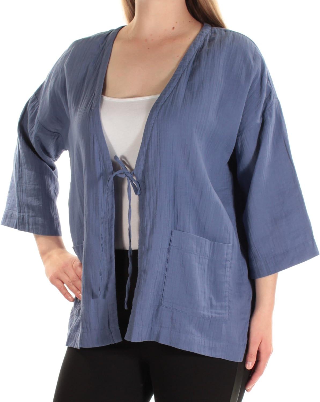 Eileen Fisher Blang Organic Cotton Gauze V-Neck Kimono Jacket Size M//M MSRP $198