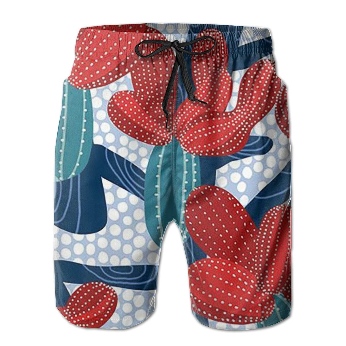ZORITO Mens Swim Trunks Quick Dry Summer Holiday Beach Shorts with Mesh Lining Winter Cactus Beachwear