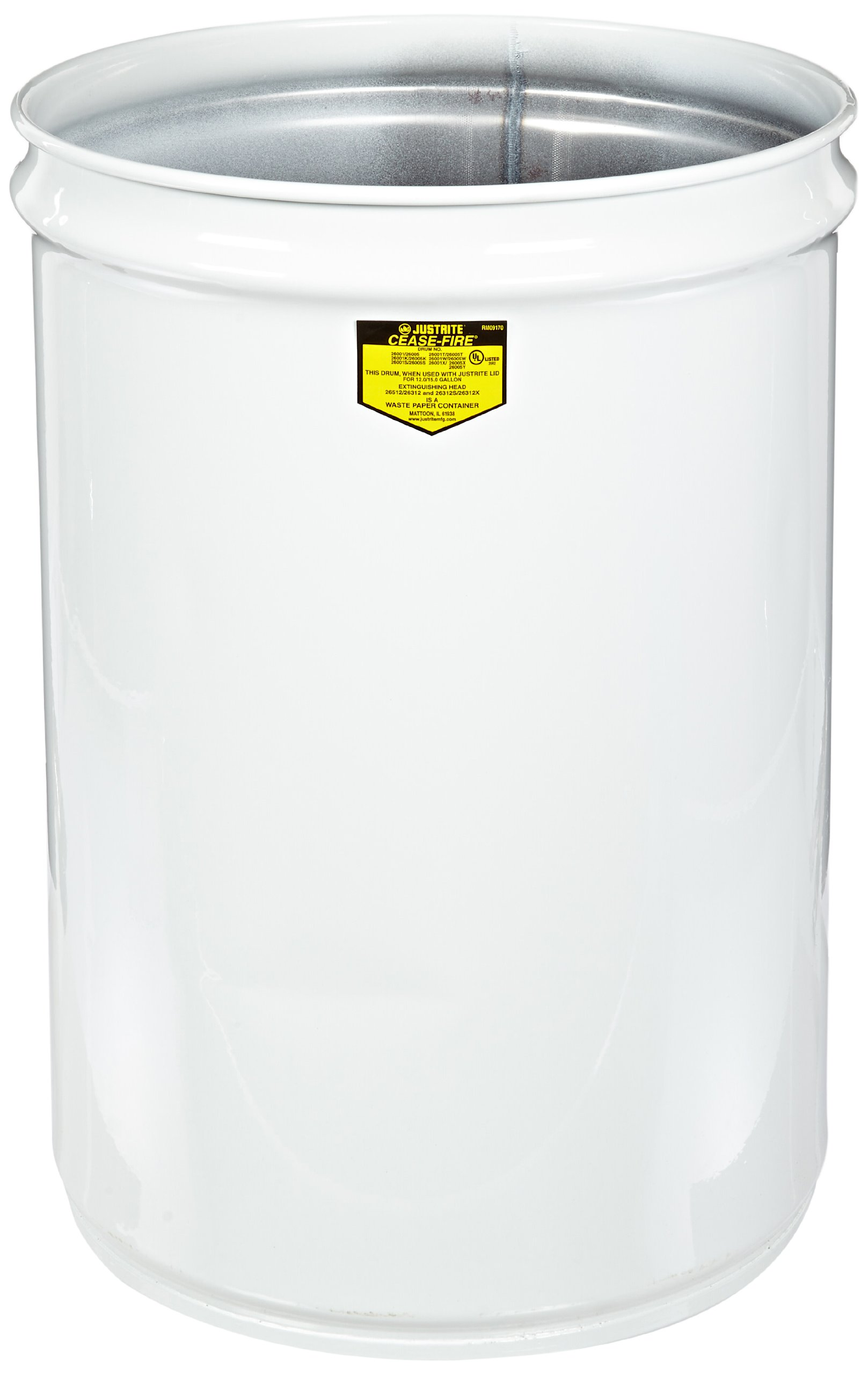 Justrite 26001W Cease-Fire Steel Drum, 12 Gallon Capacity, 14-1/2'' OD x 20-1/4'' Height, White