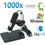 UTP 50X to 1000X Digital Microscope, 8 LED Brightness Adjustable USB 2.0 Digital Microscope, Magnifier Camera Black Practical Camera Microscope with metal stand ,Software CD and Calibration Ruler