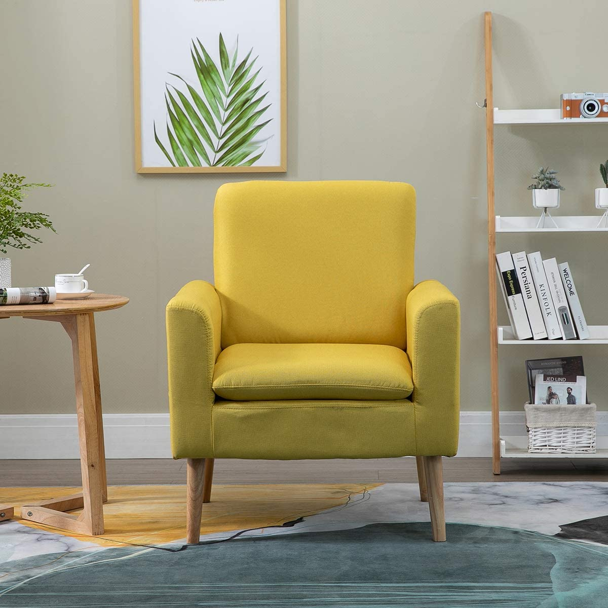 Vanimeu Yellow Accent Chair Armchair Sofa Chairs Linen Fabric with
