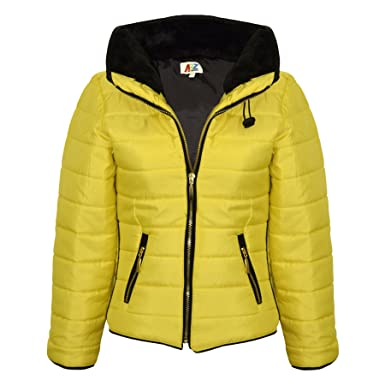7d71ad8fcca Girls Jacket Kids Padded Mustard Puffer Buble Fur Collar Quilted Warm Thick  Coat