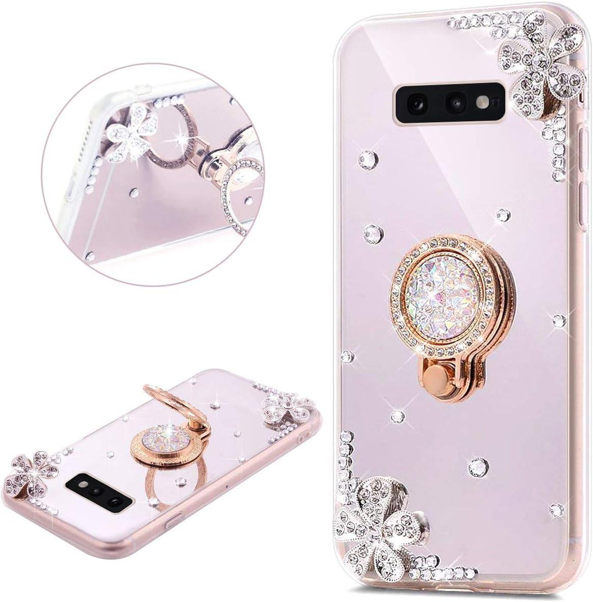 JAWSEU Compatible avec Samsung Galaxy S10 Plus Coque Silicone Glitter Strass Diamant Miroir Bague de Support,Luxe Mode Cristal Clair Fleur Miroir Etui SoupleTPU Gel T/él/éphone Coque Bumper Case,Argent