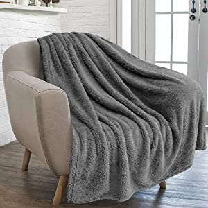 furrybaby Premium Fluffy Fleece Dog Blanket, Soft and Warm Pet Throw for Dogs & Cats (Jumbo (59x78), Grey Blanket)