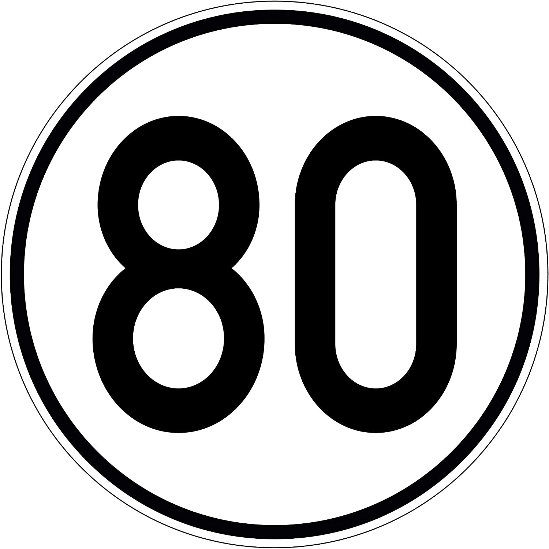 Geschwindkeitsaufkleber 80 km//h Hinweis f/ür Hobby PlottFactory Selbstklebend Folie f/ür Fahrzeuge /& Anh/änger 100 mm
