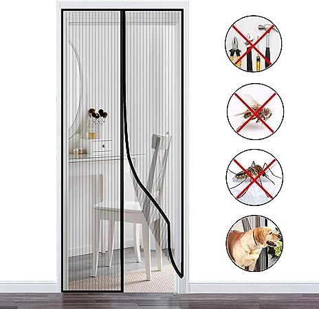 COAOC Mosquitera Puerta, Mantiene Los Mosquitos De Insectos Fuera Verano Cortina MagnéTica para Puertas Correderas/Balcones/Terraza - Black 80x220cm(31x87inch): Amazon.es: Hogar