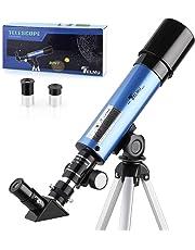 TELMU Astronomisches Teleskop Lichtteleskop zoom Tragbarer Refraktor mit Stativ Kinder Telescope mit 45 grad Diagonalspiegel kann Bilder korrigieren,Anfänger Sieh den Mond und die Sterne als Geschenk