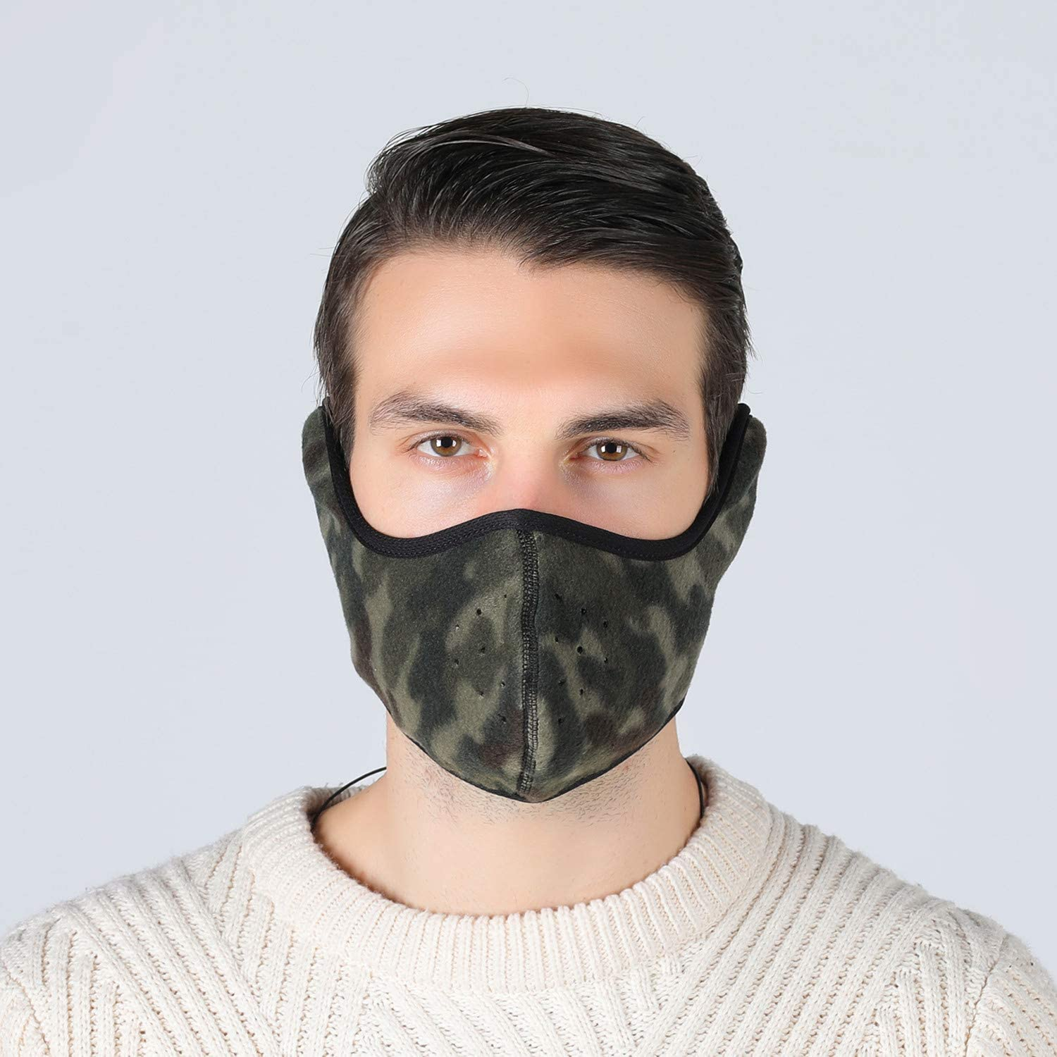 Tweal Winter Cold-proof Mask,Winter Half Face Mask Face Warmer Cold-Proof Cycling Mask With Earflap and Hole for Outdoor Sports-Camouflage(Unisex Warm)