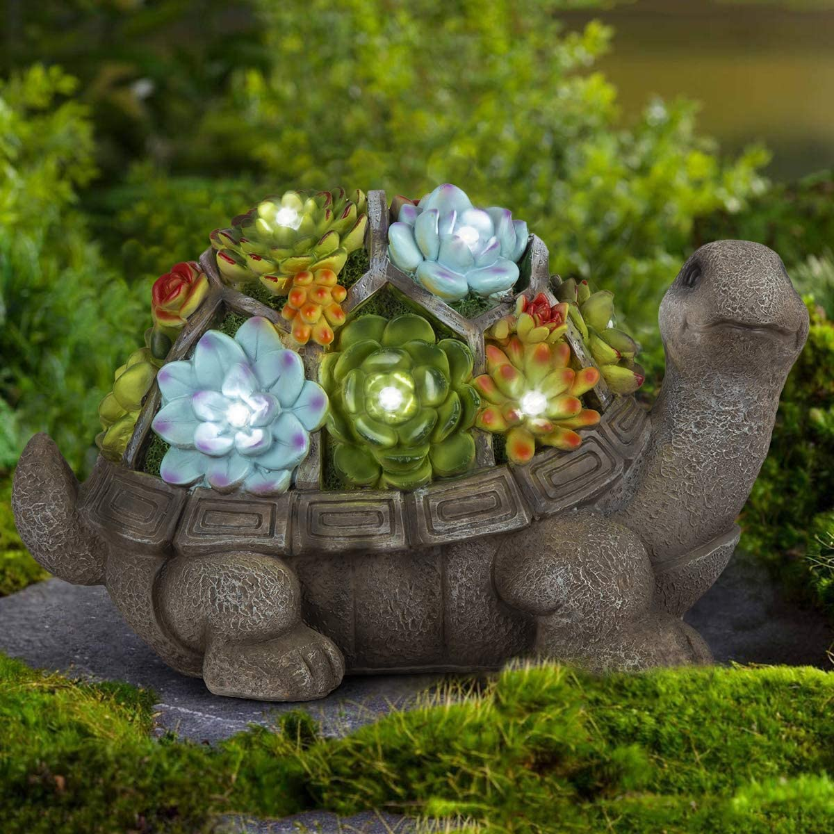 GIGALUMI Turtle Garden Figurines Outdoor Decor, Garden Art Outdoor for Fall  Winter Garden Decor,Outdoor Solar Statue with 9 LEDs for Patio,Lawn,Yard