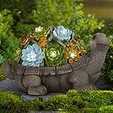 GIGALUMI Turtle Garden Figurines Outdoor Decor, Garden Art Outdoor for Fall Winter Garden Decor,Outdoor Solar Statue…