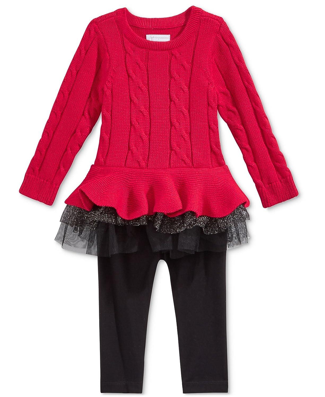 e89c46a7d8e60 Amazon.com: First Impressions Baby Girls' 2-Pc. Cable-Knit Tutu Tunic &  Leggings Set, Deep Black (3-6 Months): Clothing