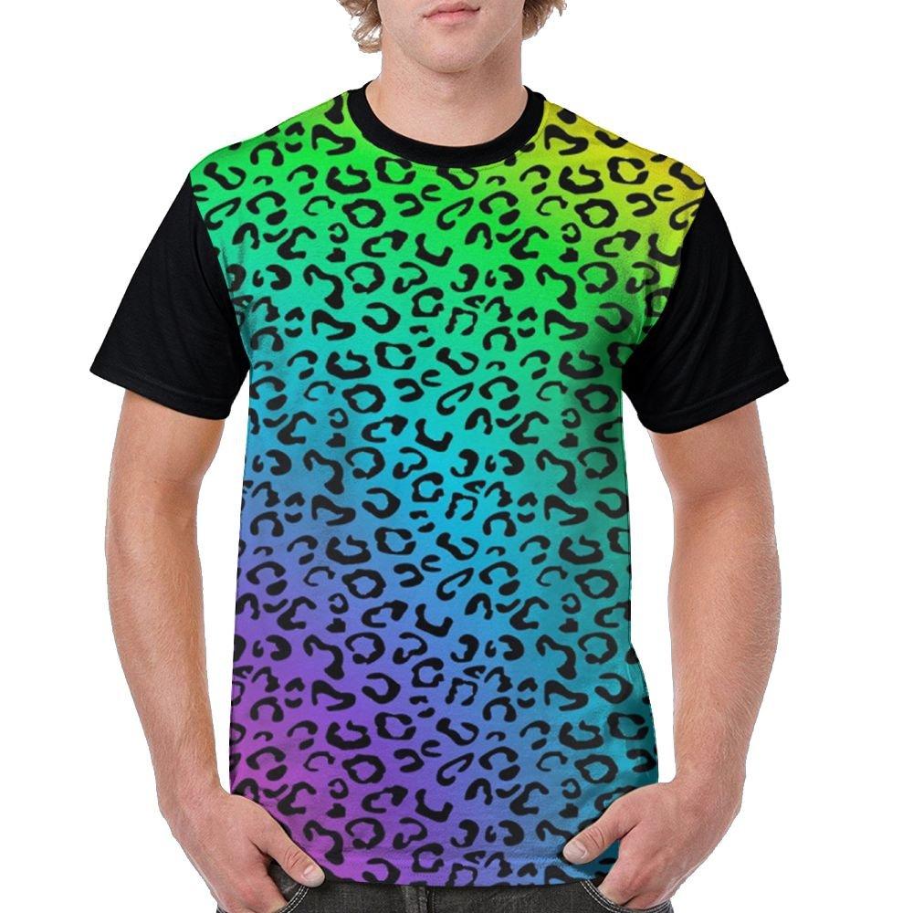 Rainbow Leopard Print Men's Raglan Short Sleeve Tops T-Shirt Popular Undershirts Baseball Tees by CKS DA WUQ
