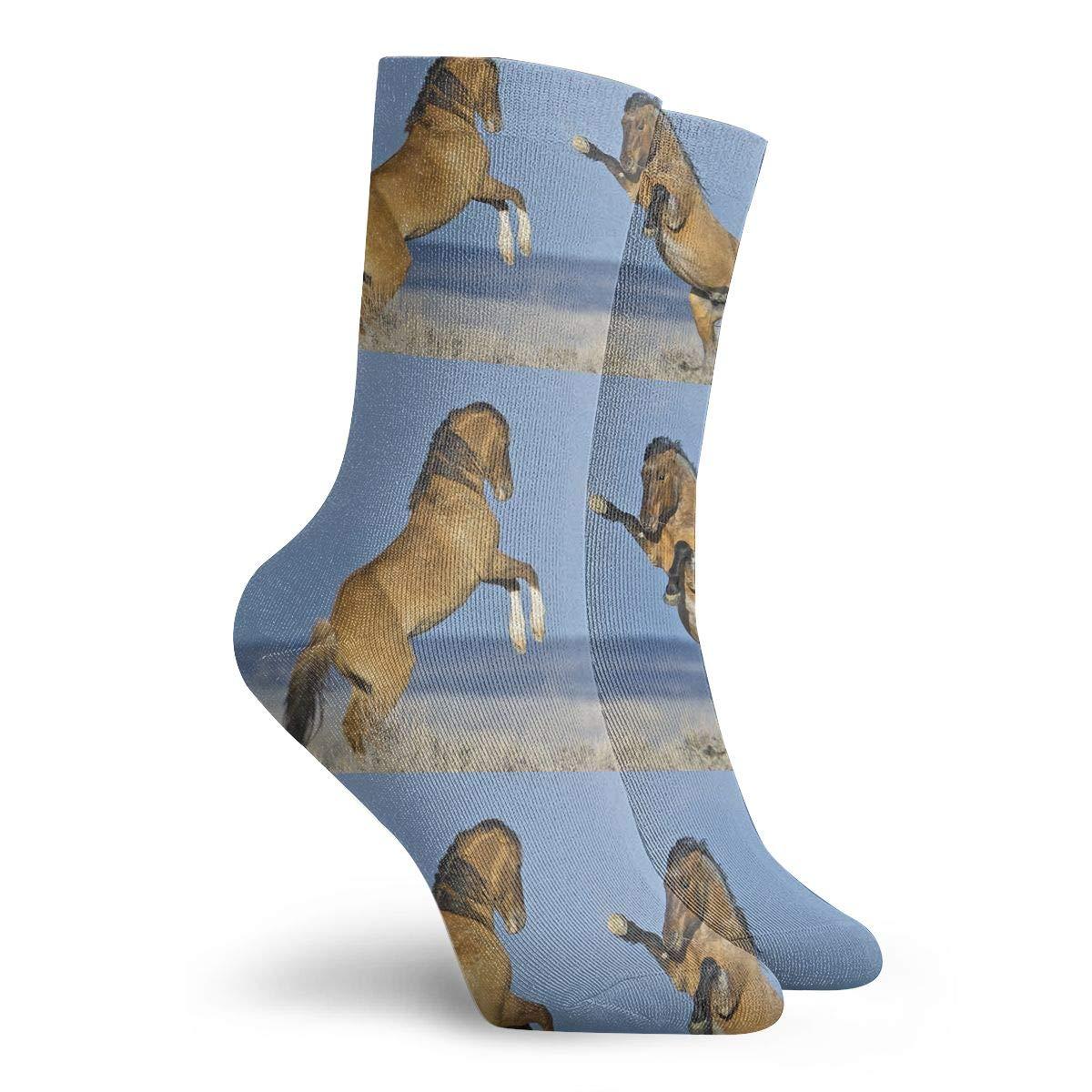 Wild Horse Mens Fashion Dress Socks Short Socks Leisure Travel 11.8 Inch