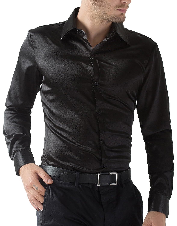 159b2c134d3 PAUL JONES Men s Slim Fit Silk Like Satin Luxury Dress Shirt at Amazon Men s  Clothing store