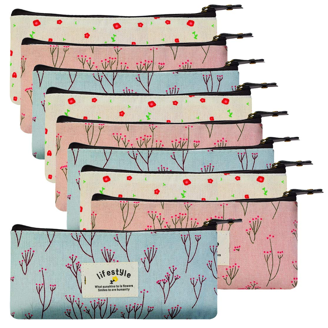 SUMERSHA 9pcs Countryside Flower Floral Pencil Pen Case Cosmetic Makeup Bag