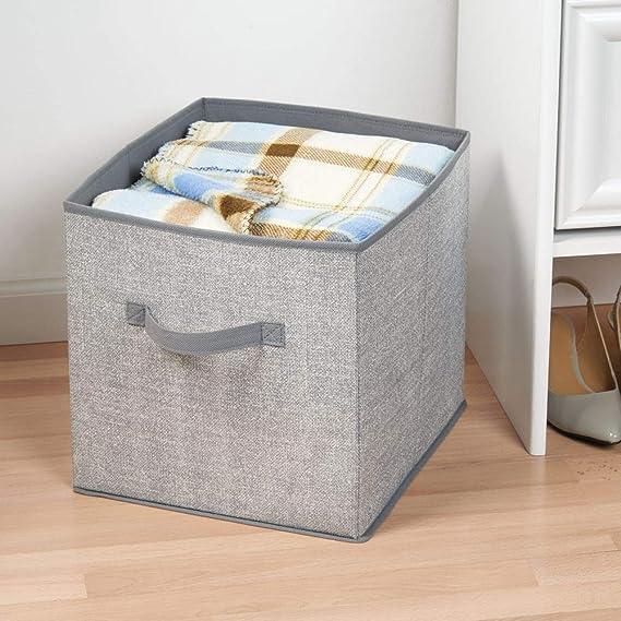 mDesign Cubo organizador de tela, para armario de guardería; organiza animales de peluche, toallas, juguetes, sábanas - paquete de 2 - Gris: Amazon.es: Bebé
