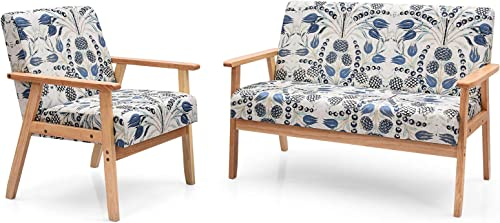 Giantex Mid-Century Wooden Loveseat Accent Chair Set