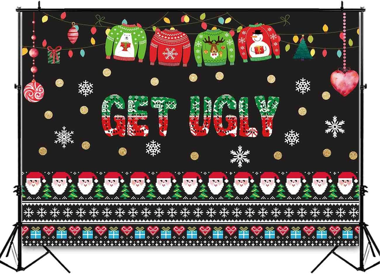 Funnytree 8x8ft Ugly Christmas Sweater Party Backdrop Tacky Blackboard Winter Xmas Photography Background Elfed Kids Chalkboard Photobooth Decorations Banner Invitation