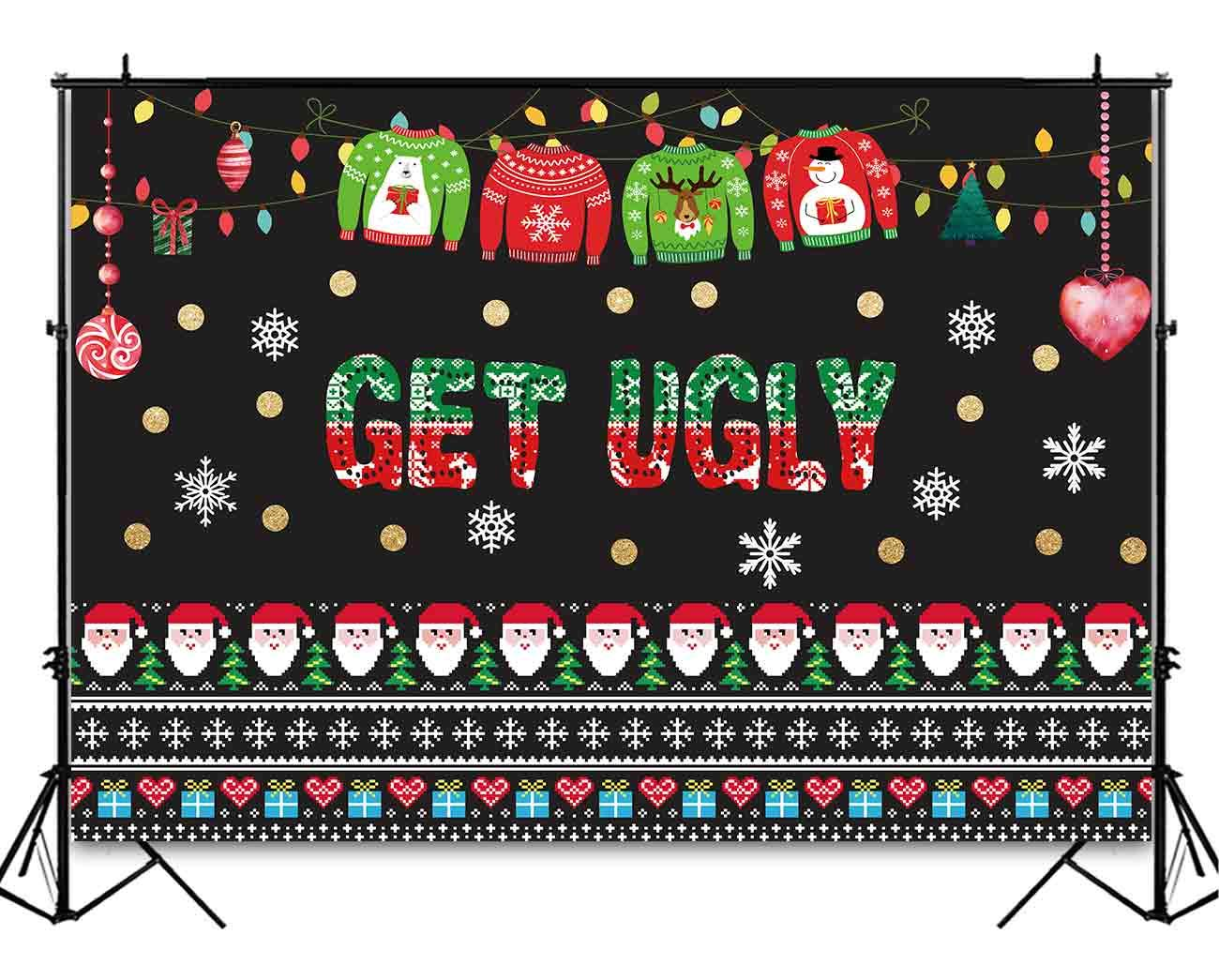 Funnytree 7x5ft Ugly Christmas Sweater Party Backdrop Tacky Blackboard  Winter Xmas Photography Background Elfed Kids Chalkboard Photobooth  Decorations