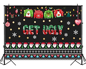 Christmas Sweater Background.Funnytree 7x5ft Ugly Christmas Sweater Party Backdrop Tacky Blackboard Winter Xmas Photography Background Elfed Kids Chalkboard Photobooth Decorations