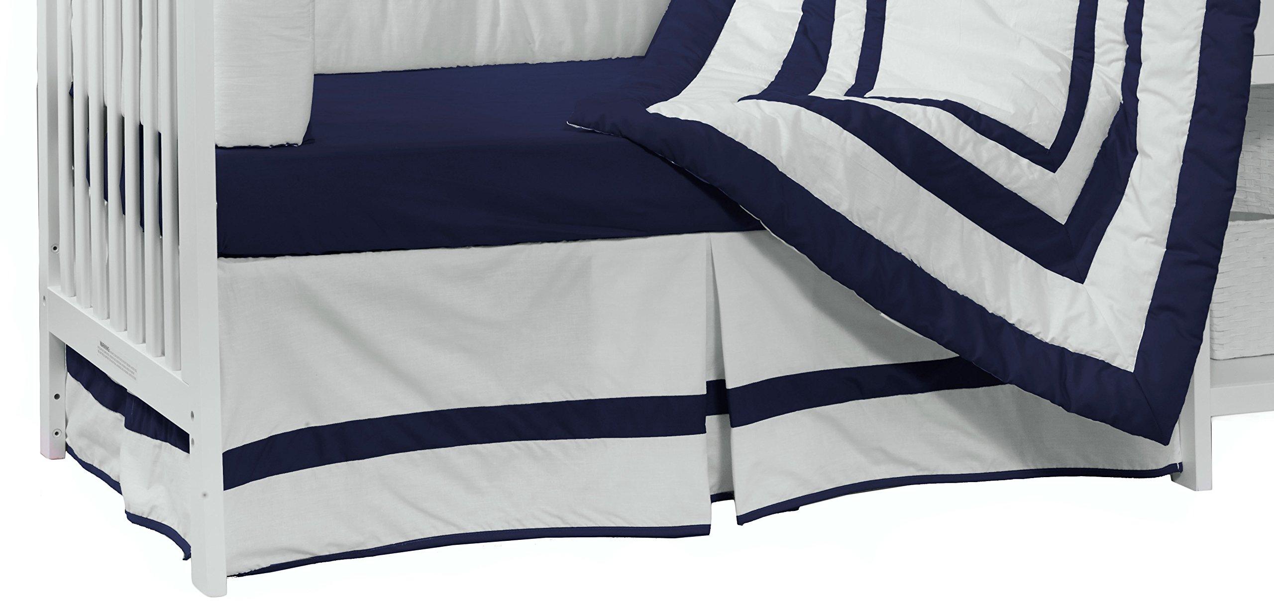 Baby Doll Beddding Modern Hotel Style Nuetral Crib Dust Ruffle, Navy