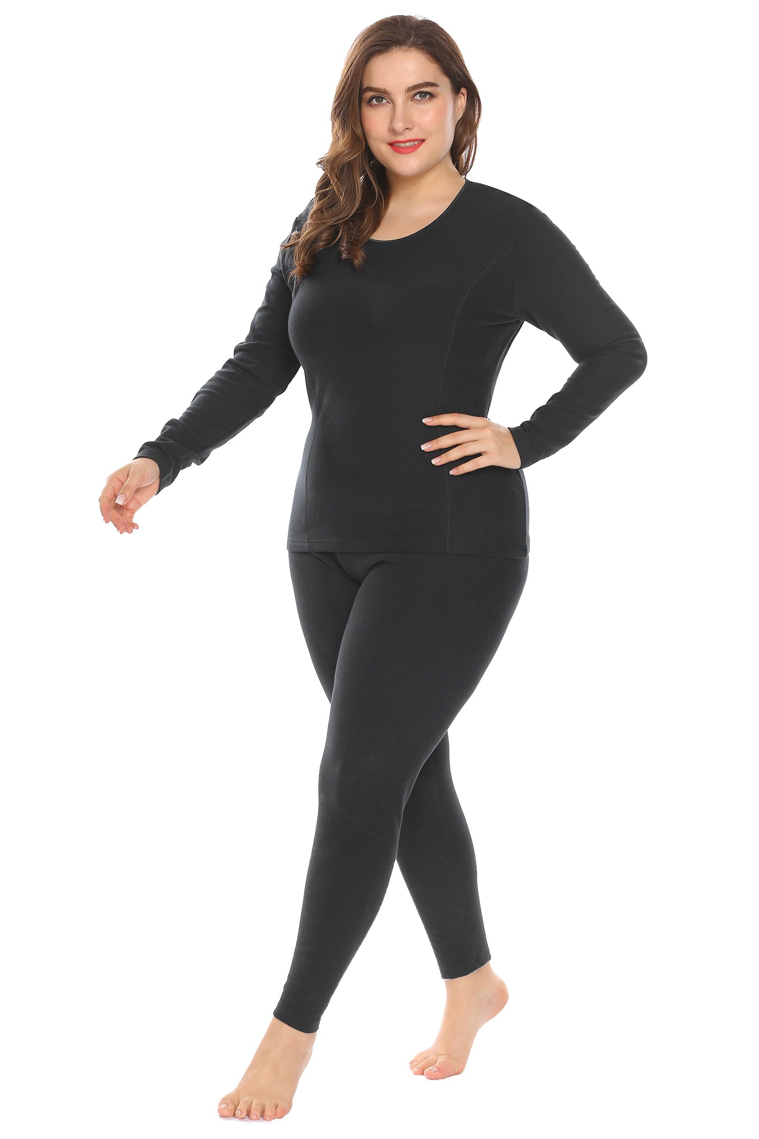 In'voland Women's Thermal Underwear Set Top & Bottom Fleece Lined,Black,16W/XL