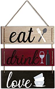 Jetec Eat Drink Love Kitchen Signs Wall Decor Family Hanging Sign Rustic Wood Sign Rustic Wooden Kitchen Wall Decor Bar Rustic Signs Farmhouse Wooden Hanging Wall Sign (Retro Color)